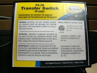 USED RV/MOTORHOME GO POWER 30 AMP TRANSFER SWITCH BOX