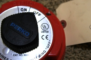 USED PERKO ON/OFF MEDIUM DUTY BATTERY DISCONNECT SWITCH CAT. NO. 9601 FOR SALE