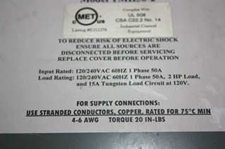 USED TIFFIN MOTORHOMES INC AUTOMATIC TRANSFER SWITCH TMH50-2 FOR SALE