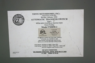 USED TIFFIN MOTORHOMES INC AUTOMATIC TRANSFER SWITCH TMH50-2 RV PARTS FOR SALE