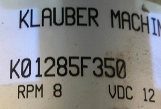 USED KLAUBER SLIDE OUT MOTOR P/N K01285F350 FOR SALE