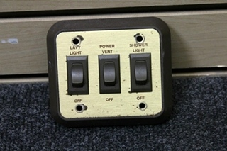 USED RV MONACO INTERIOR 3 SWITCH WALL PANEL (LAVY LIGHT, POWER VENT & SHOWER LIGHT)