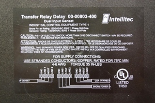 USED RV INTELLITEC TRANSFER RELAY DELAY 00-00803-400 FOR SALE