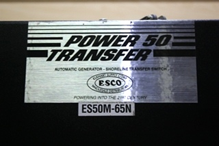USED RV ES50M-65N POWER 50 TRANSFER AUTOMATIC GENERATOR-SHORELINE TRANSFER SWITCH FOR SALE