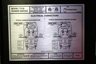 USED POWER SWITCH AUTOMATIC TRANSFER SWITCH TS-30 MOTORHOME PARTS FOR SALE