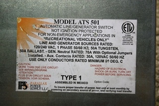 USED MOTORHOME PARALLAX POWER SUPPLY ATS 501 AUTOMATIC LINE / GENRATOR SWITCH FOR SALE