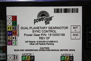 USED POWER GEAR DUAL PLANETARY GEARMOTOR SYNC CONTROL PN: 1510000199 RV PARTS FOR SALE