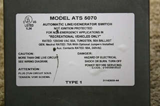 USED MOTORHOME AUTOMATIC LINE/GENERATOR SWITCH MODEL ATS 5070 FOR SALE