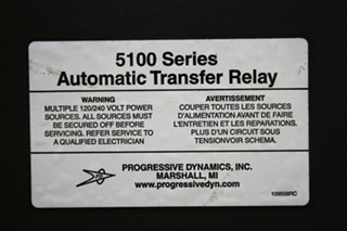 USED MOTORHOME PROGRESSIVE DYNAMICS 5100 SERIES AUTOMATIC TRANSFER RELAY FOR SALE