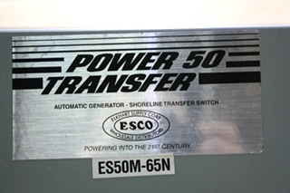 USED POWER 50 TRANSFER ES50M-65N AUTOMATIC GENERATOR - SHORELINE TRANSFER SWITCH MOTORHOME PARTS FOR SALE
