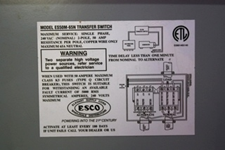 USED RV POWER 50 TRANSFER ES50M-65 AUTOMATIC TRANSFER SWITCH FOR SALE