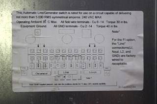 USED RV PARALLAX POWER COMPONENTS AUTOMATIC LINE/GENERATOR SWITCH ATS 5070 FOR SALE