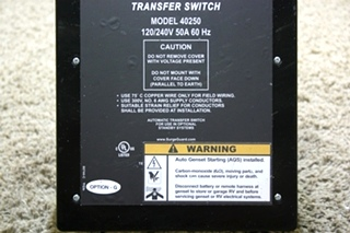 USED MOTORHOME SURGE GUARD RV POWER PROTECTION AUTOMATIC TRANSFER SWITCH MODEL: 40250 FOR SALE