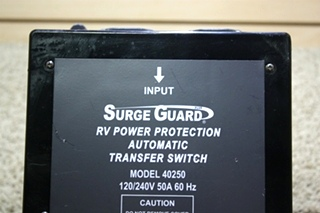USED SURGE GUARD AUTOMATIC TRANSFER SWITCH MODEL: 40250 MOTORHOME PARTS FOR SALE