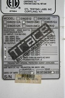 USED RV TRACE ENGINEERING POWER CONVERSION CENTER SW2512MC FOR SALE