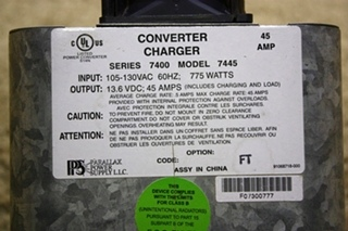 USED MOTORHOME PARALLAX POWER SUPPLY CONVERTER CHARGER MODEL: 7445 FOR SALE