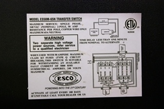 USED ES50M-65N POWER 50 TRANSFER AUTOMATIC GENERATOR - SHORELINE TRANSFER SWITCH RV PARTS FOR SALE