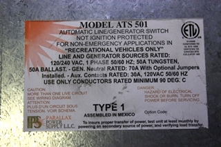 USED MOTORHOME ATS 501 PARALLAX POWER SUPPLY AUTOMATIC LINE/GENERATOR SWITCH FOR SALE