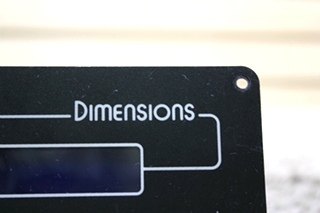 USED RV DIMENSIONS REMOTE PANEL 141255-2 FOR SALE