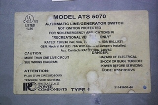USED RV PARALLAX POWER COMPONENTS ATS 5070 AUTOMATIC LINE/GENERATOR SWITCH FOR SALE