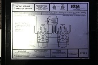 USED ITS-50R IOTA AUTOMATIC TRANSFER SWITCH RV PARTS FOR SALE