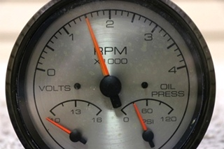 USED MOTORHOME 3 IN 1 VOLTS / OIL PRSS / TACHOMETER DASH GAUGE FOR SALE