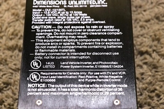 USED DIMENSIONS UNLIMITED INVERTER DUI-12/130TL RV PARTS FOR SALE