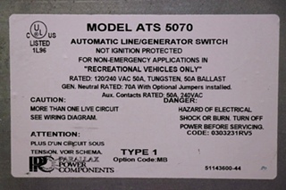 USED RV ATS 5070 PARALLAX POWER COMPONENTS AUTOMATIC LINE/GENERATOR SWITCH FOR SALE