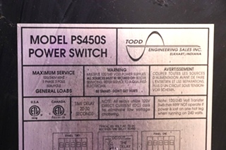 USED RV PS450S POWER SWITCH AUTOMATIC TRANSFER SWITCH FOR SALE