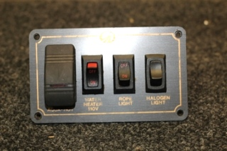 USED MONACO SWITCH PANEL FOR AQUA HOT, WATER HEATER & HALOGEN/ROPE LIGHT