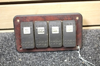 USED 4 SWITCH WALL MOUNT PANEL FOR MAP & STEP LIGHTS, STEP COVER AND PASS/SHADE PN: W-17860-03