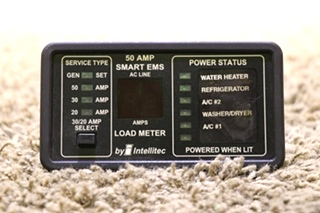 USED MOTORHOME 50 AMP SMART EMS DISPLAY PANEL BY INTELLITEC 00-00684-100 RV PARTS FOR SALE