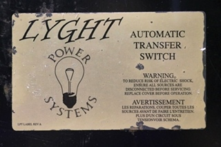 USED POWER LYGHT SYSTEMS RV LPT50BRD AUTOMATIC TRANSFER SWITCH MOTORHOME PARTS FOR SALE