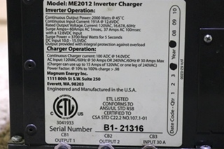 USED MOTORHOME ME2012 MAGNUM ENERGY INVERTER CHARGER RV PARTS FOR SALE