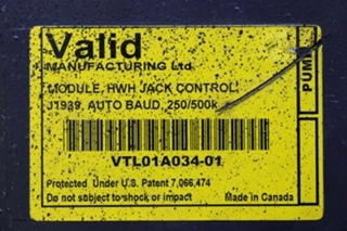 USED VTL01A034-01 VALID HWH JACK CONTROL MODULE MOTORHOME PARTS FOR SALE