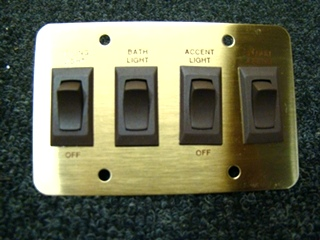 NEW/OLD STOCK RV/MOTORHOME SIGMA 4 WAY GOLD/BROWN LIGHT PLATE SWITCH P/N: 4.128.745 PRICE:$58.00